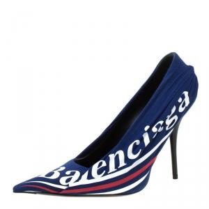 Balenciaga Blue Fabric And Leather Knife Logo Pointed Toe Pumps Size 40