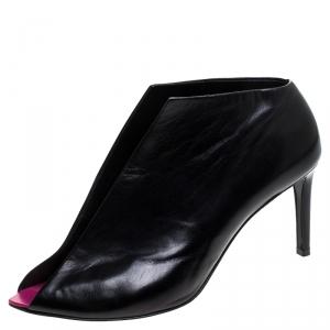 Balenciaga Black Leather Split Vamp Open Toe Booties Size 38.5