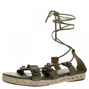 Balenciaga Green Leather Espadrille Ankle Wrap Flats Sandals Size 37 - used