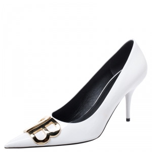 Balenciaga White Patent Leather BB Pointed Toe Pumps Size 40