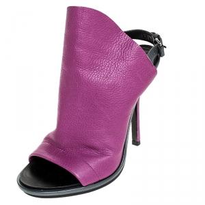 Balenciaga Purple/Grey Leather Open Toe Slingback Mule Sandals Size 36 - used