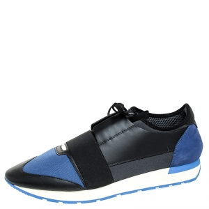 Balenciaga Blue/Black Stretch Fabric, Leather And Nubuck Race Runner Sneakers Size 47