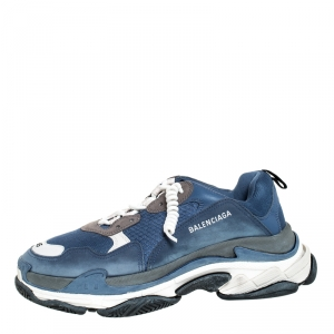 Balenciaga Blue/White Mesh, Nubuck And Leather Triple S Sneakers Size 45