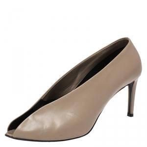 Balenciaga Beige Leather Split Vamp Open Toe Booties Size 38.5