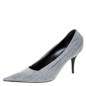 Balenciaga Grey Fabric Knife Pointed Toe Pumps Size 37.5