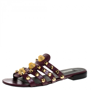 Balenciaga Burgundy Leather Arena Flat Slides Size 39