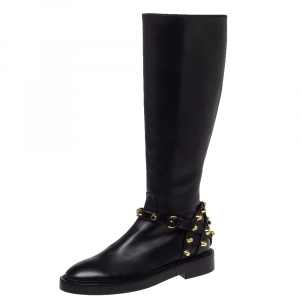 Balenciaga Black Leather Classic Studded Knee High Boots Size 36 - used