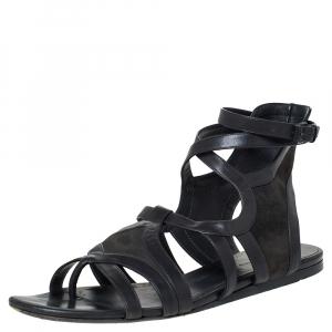 Balenciaga Grey Leather Gladiator Flat Sandals Size 40.5 - used