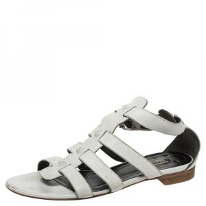 Balenciaga White Leather Studded Gladiator Flat Sandals Size 39 - used