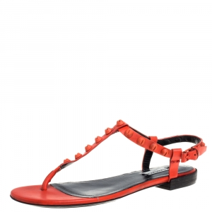Balenciaga Orange Leather Arena Studded Strappy Flat Thong Sandals Size 39 - used