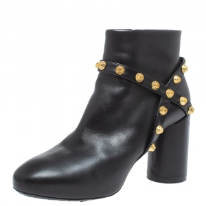 Balenciaga Black Leather Arena Studded Block Heel Ankle Boots Size 35.5 - used