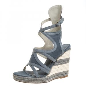 Balenciaga Grey Denim and Leather Trim Gladiator Wedge Platform Sandals Size 39 - used