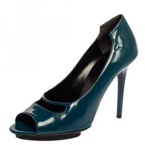 حذاء كعب عالي بالنسياغا مقدمة مفتوحة جلد لامع أزرق بيكوك مقاس 39.5