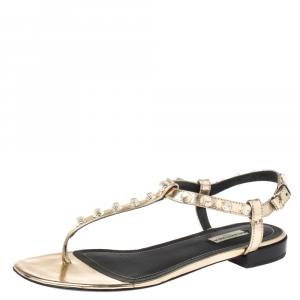 Balenciaga Gold Studded Leather Arena Thong Sandals Size 39 - used