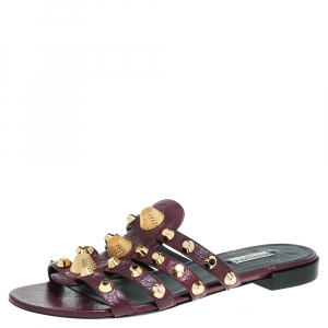 Balenciaga Purple Leather Studded Slide Flats Size 40