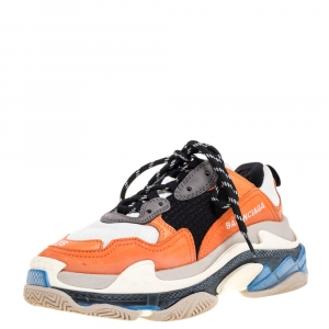Balenciaga Multicolor Leather and Mesh Triple S Low Top Sneaker Size 36