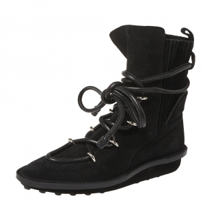 Balenciaga Black Suede Leather Snow Mountain Ankle Wrap Boots Size 39 - used