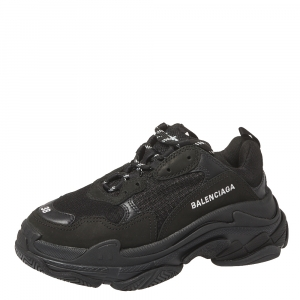 Balenciaga Black Leather And Mesh Triple S Sneakers Size 38
