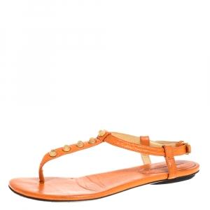 Balenciaga Orange Leather RH Thong Sandals Size 38 - used