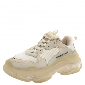Balenciaga Tri Color Leather and Mesh Triple S Trainer Sneakers Size 37