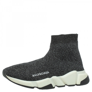 Balenciaga Black Glitter Knit Speed Sock Sneakers Size 37