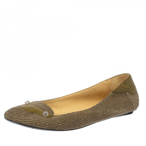Balenciaga Beige/Olive Green Canvas And Leather Studed Ballet Flats Size 39.5