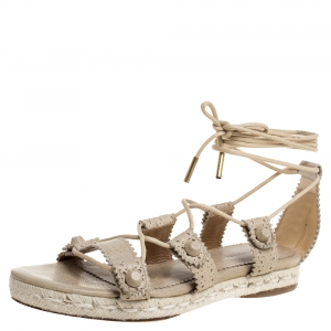 Balenciaga Beige Leather Espadrille Ankle Wrap Flat Sandals Size 36 - used