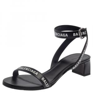 Balenciaga Black Leather Allover Logo Print Open Toe Ankle Strap Sandals Size 41