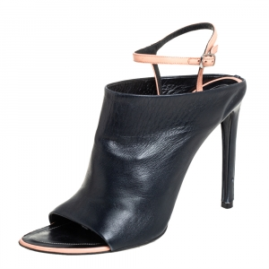 Balenciaga Black/Pink Leather Open Toe Ankle Strap Sandals Size 41 - used