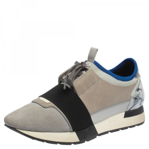 Balenciaga Grey/Blue Leather, Suede Race Runner Marble Sneakers Size 39