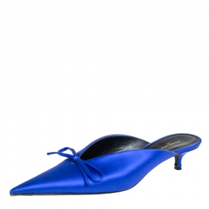 Balenciaga Blue Satin Bow Pointed Toe Mules Sandals Size 37