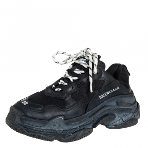 Balenciaga Black Leather And Mesh Triple S Clear Sneakers Size 38