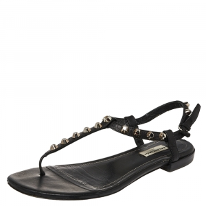 Balenciaga Black Leather Studded Thong Flat Sandals Size 38