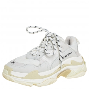 Balenciaga White/Beige Mesh And Nubuck Leather Triple S Low Top Sneakers Size 36