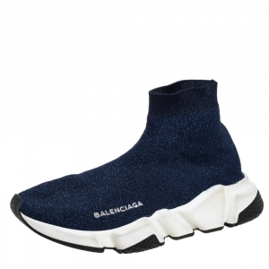Balenciaga Blue Knit Fabric Speed Trainer Sneakers Size 37