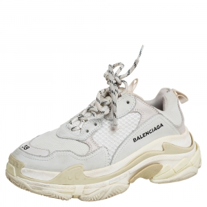 Balenciaga White/Grey Leather And Mesh Triple S Low Top Sneakers Size 38