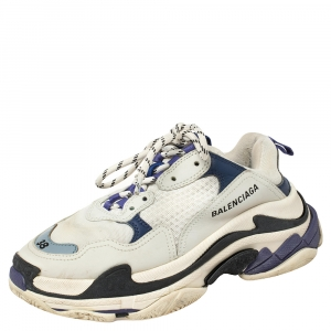 Balenciaga White/Blue Leather and Mesh Triple S Clear Sole Sneakers Size EU 38