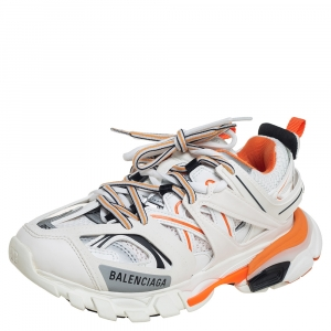 Balenciaga White/Orange Rubber And Mesh Track Trainers Size 36