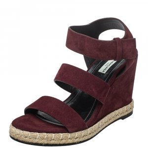 Balenciaga Burgundy Suede Espadrille Wedge Ankle Strap Sandals Size 38 - used