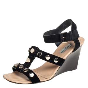 Balenciaga Black Suede Wedge Sandals Size 37 - used