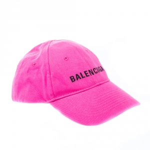 Balenciaga Pink Cotton Twill Embroidered Logomania Baseball Cap L