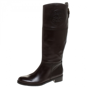 Bally Brown Leather Knee Length Boots Size 39