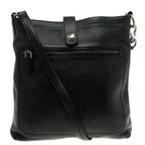 Bally Black Leather B Logo Crossbody Bag