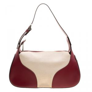 Bally Burgundy and Off-White Leather and Canvas Shoulder Bag