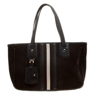 Bally Black Suede and Leather Web Tote