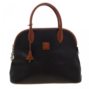 Bally Black/Brown Signature Leather Satchel