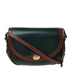 Bally Green/Brown Leather Vintage Crossbody Bag