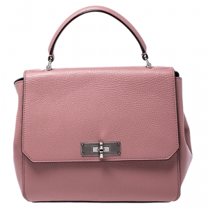 Bally Pink Leather Flap Top Handle  Bag