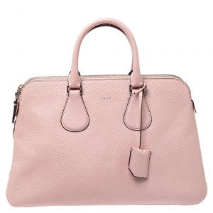 Bally Pink Leather Double Zip Satchel