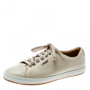 Bally Beige Leather Lace Up Sneakers Size 35 - used